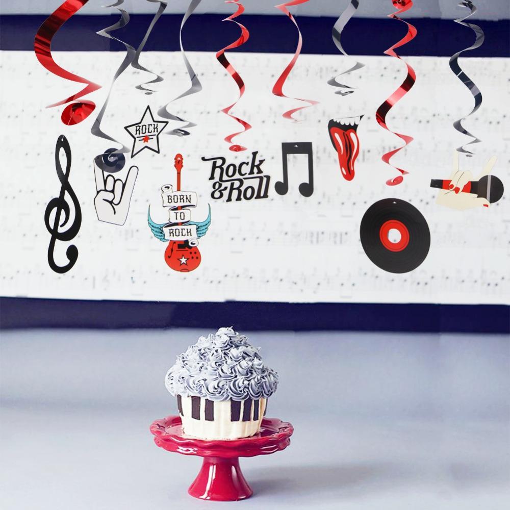 Pkg Rock Star Metallic Foil Hanging Swirls N Roll Whirls Musical Party Decorations Birthday Hall Decoration