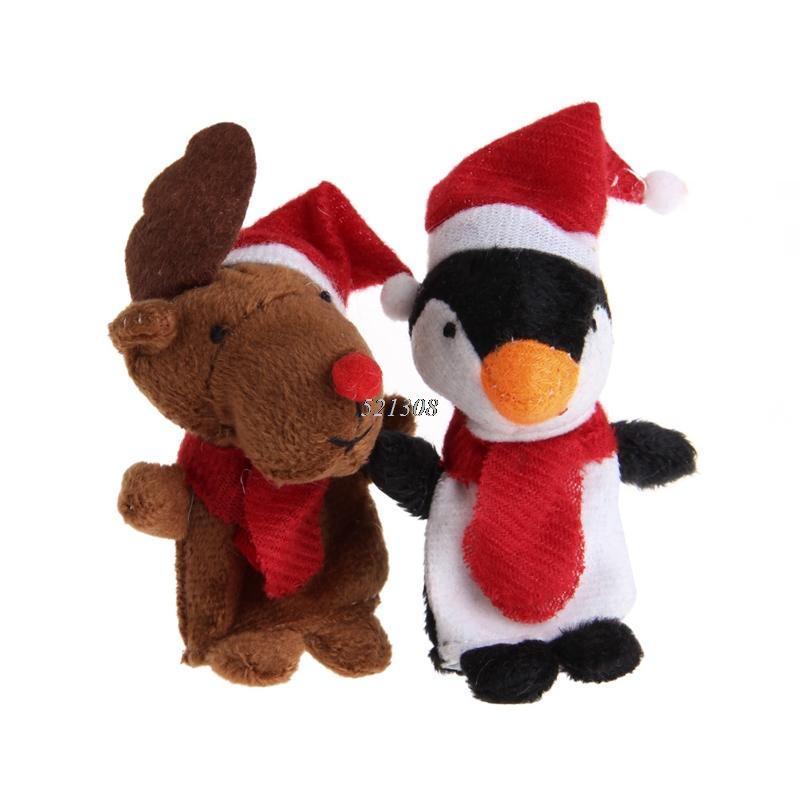 Hot Selling Christmas Finger Puppets Santa Claus Snowman Deer Bear Penguin Plush Toys Dolls