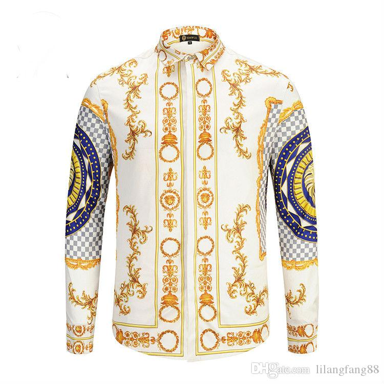 13bd4d0ec Wholesale- Silk Shirt men Wave Of Men Floral Print Colour Mixture Luxury  Casual Harajuku Shirts Long-sleeved Patchwork Men's Medusa Shirts