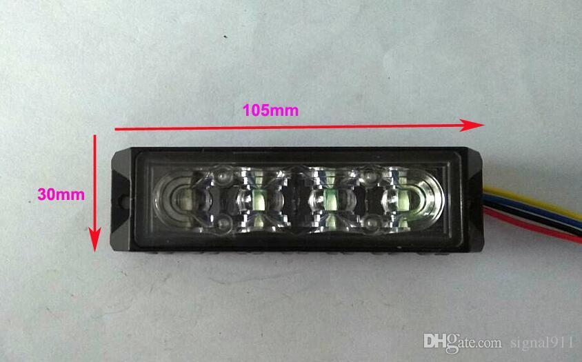 ECE R65 4 * 3W LED phares stroboscopiques pour montage en surface de voiture, voyants de gril, lampe de secours, 18 flashs, étanche, /