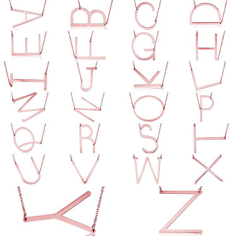 Lettre Pendentif Collier En Acier Inoxydable Lettre Abréviation M Argent Rose Plaqué Or Collier Femme Mode Femmes Bijoux En Gros.