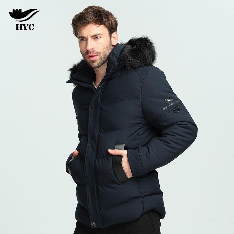 HAI YU CHENG Herren Windbreaker Faux Pelz Kapuze Mantel Hohe Qualität Anorak Winterjacke Männer Heißer Verkauf Winter Parkas Herren Jacke Marke