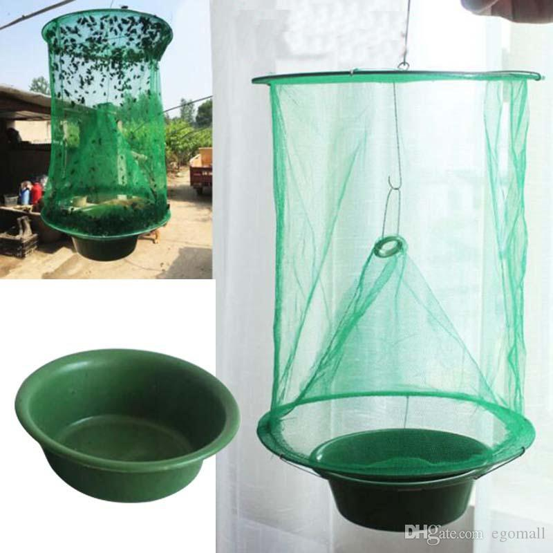 Fly kill Pest Control Trap tools Reusable Hanging Fly Catcher Killer Flytrap Zapper Cage Net Trap Garden Supplies killer-flies