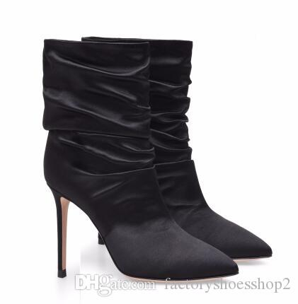 d6dd5f82ee9d Women White High Heel Slouch Boots Black Satin Ankle Booties Pointed Toe  Slip On Wrinkled Stylish Short Boots Evening Pumps Sexy Shoes Boots Shoes  From ...