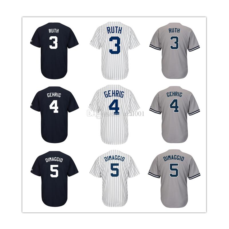 Mens New York Yankees Derek Jeter Babe Ruth Lou Gehrig Joe DiMaggio ... 10305a5bb