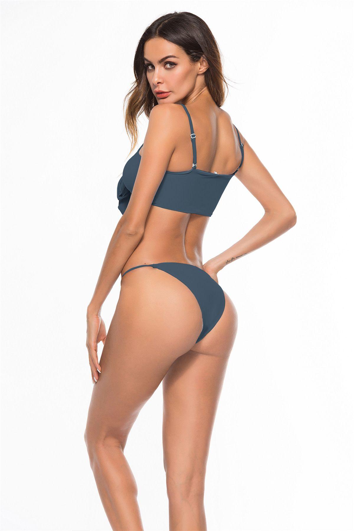 2018 Bikini sexy Trajes de baño de dos piezas Banda de espagueti Conjunto de bikini Traje de baño Cintura baja Sólido Empuja hacia arriba Traje de baño de playa tentación super