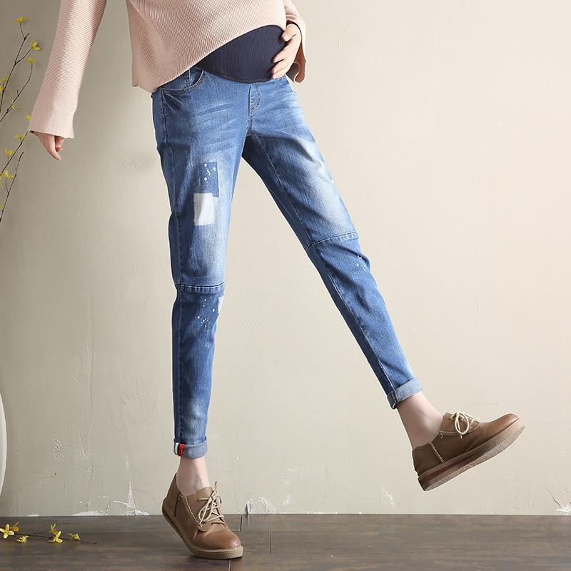 3846f7ff9 Compre Vaqueros De Maternidad Del Otoño Embarazo Recto Talla Grande Denim  Jean Para Mujeres Embarazadas Pantalones Con Bolsillos Sueltos Pantalones  Largos A ...
