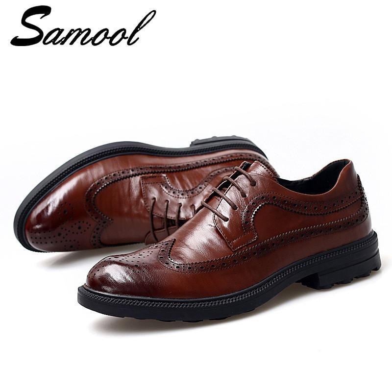 0f7b78c44e Compre Genuína Sapatos De Couro Porco Homens Estilo Britânico Lace Up  Respirável Bullock Sapatos Oxford Para Homens Casamento De Luxo Negócio  Sex3 De ...