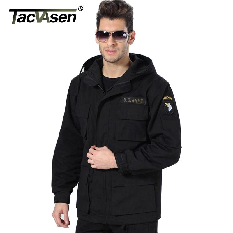 TACVASEN Men Winter Military Jacket US Army AIR FORCE Thermal Trench with Hood Jacket Fleece Lining Military Coat BJQS-001