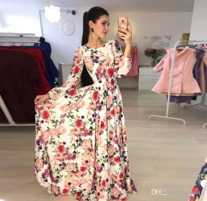 a6a1543937 New Arrival Women Maxi Dresses Round Neck Long Sleeve Womens Fashion Floral  Long Party Dress All White Summer Dress Party Dress Sleeves From Quota, ...