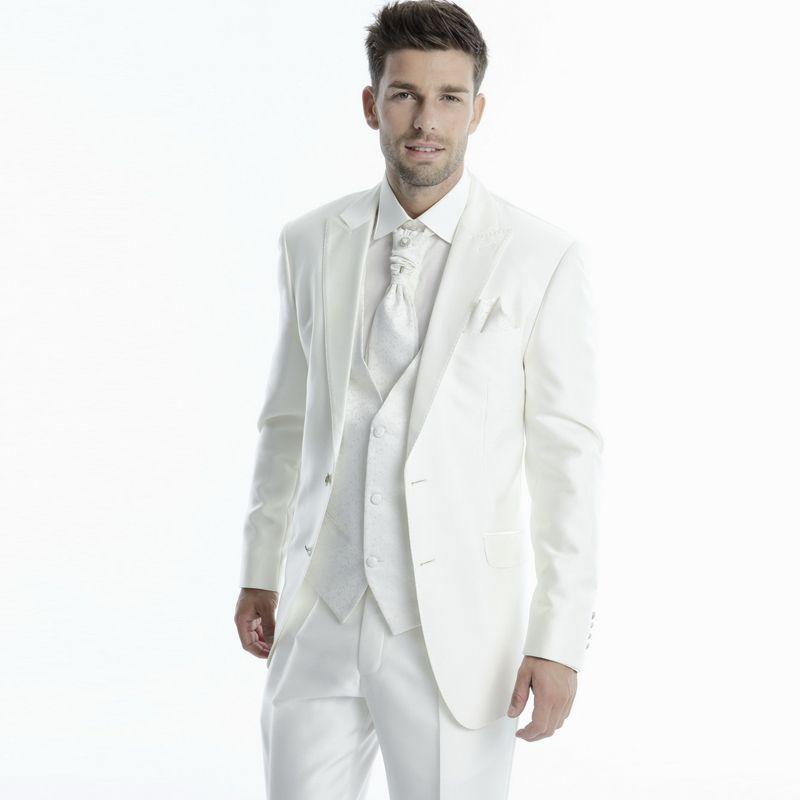 White Wedding Suits Groom Tuxedos Jacket+Pants+Vest Slim