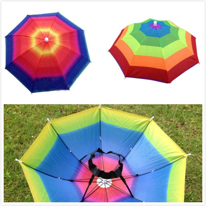 1fa2264fc3a35 2019 Outdoor Popular Foldable Sun Rainbow Umbrella Hat Golf Fishing Camping  Shade Beach Headwear Cap Umbrellas Adults Children From The one
