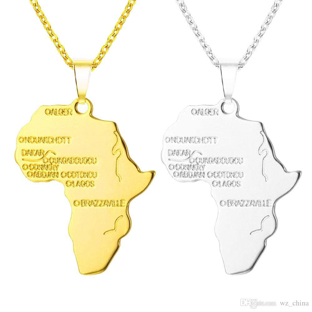 남성과 여성을위한 24K 골드 도금 목걸이 힙합 아프리카지도 펜던트 목걸이