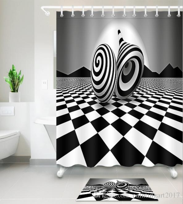 2019 3d Black White Print Bath Shower Curtains Modern Style Shower