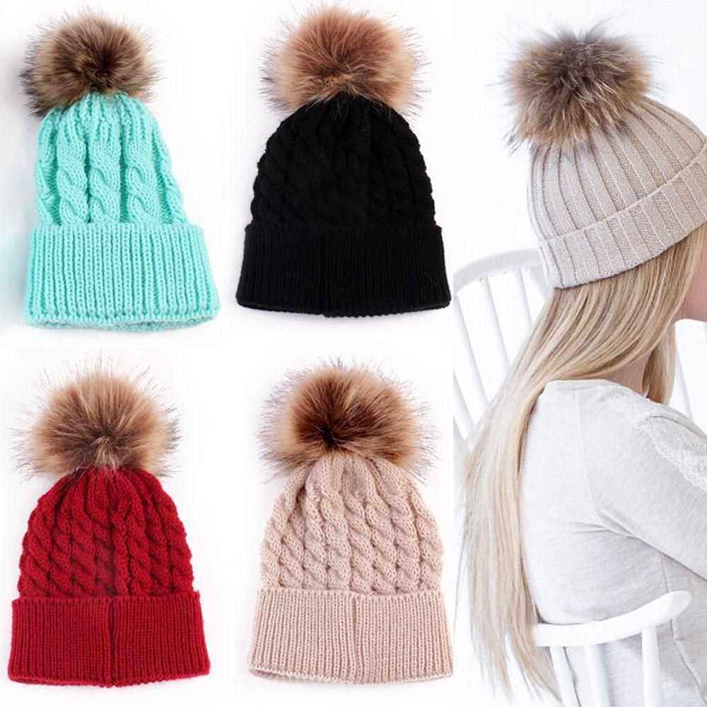 5576226c38b9da Fashion Candy Colors Mom Or Baby Knitting Keep Warm Hat Women Winter Hat  Family Matching Outfits Mom Baby Hats Y18110503 Hats For Men Snapback Caps  From ...