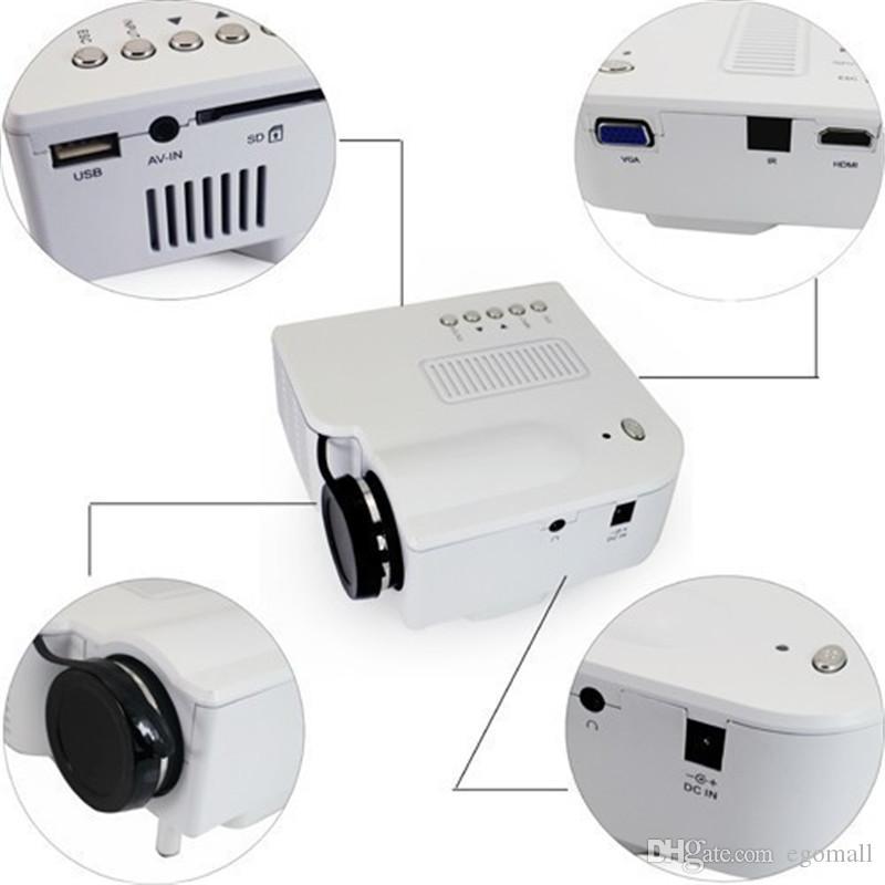 UC28 Multimédia Portable Mini HD Led Projecteur Cinéma Théâtre Support Pc Ordinateur Portable Entrée HDMI VGA et SD USB AV avec Télécommande