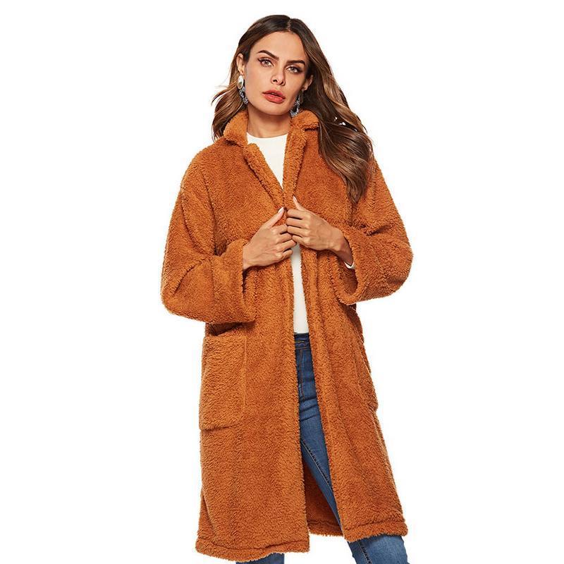 Compre 2018 NUEVO Abrigo Invierno Mujer Marrón Abrigo De Lana Gran Bolsillo  Felpa Abrigo Piel De Imitación Teddy Jacket A  33.94 Del Weilad  1ee05b5fbfc2