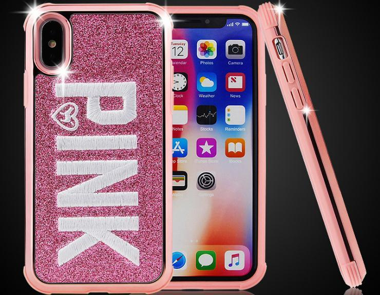 buy popular 66f43 87054 Embroider PINK Brand NEW Cell Phone LOVE PINK Fashion Cute Pink Soft  Silicon TPU Case for iPhone 7 8 Plus 6 6s Plus X Samsung S9 S9Plus