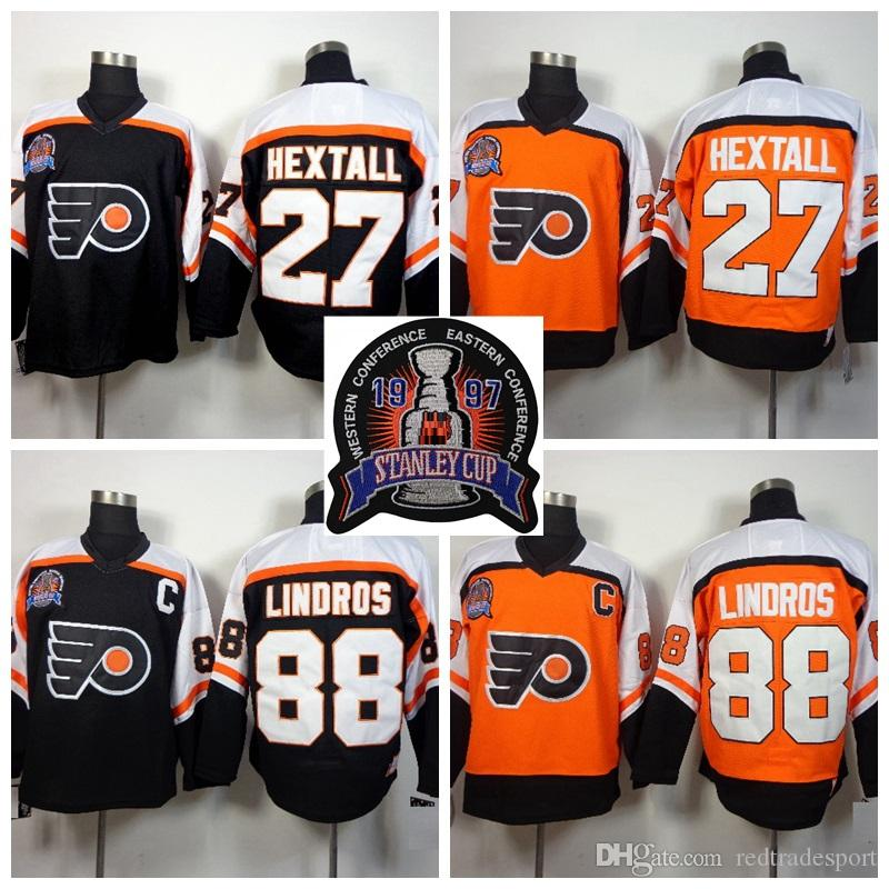 ... sale 2018 1997 stanley cup final black orange philadelphia flyers ron  hextall 88 eric lindros hockey d8a852063