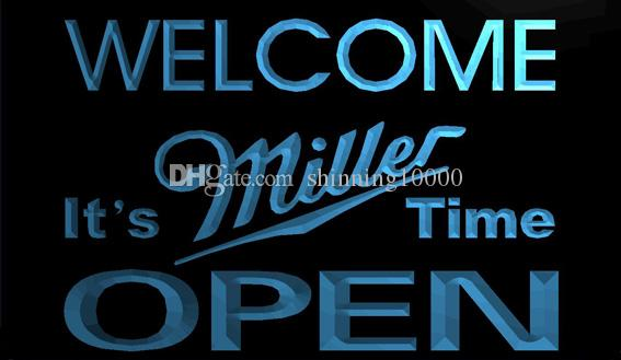 LS1216-b- Welcome It's Miller Time Beer OPEN 3D LED Neon Light Sign  Customize on Demand 8 colors to choose