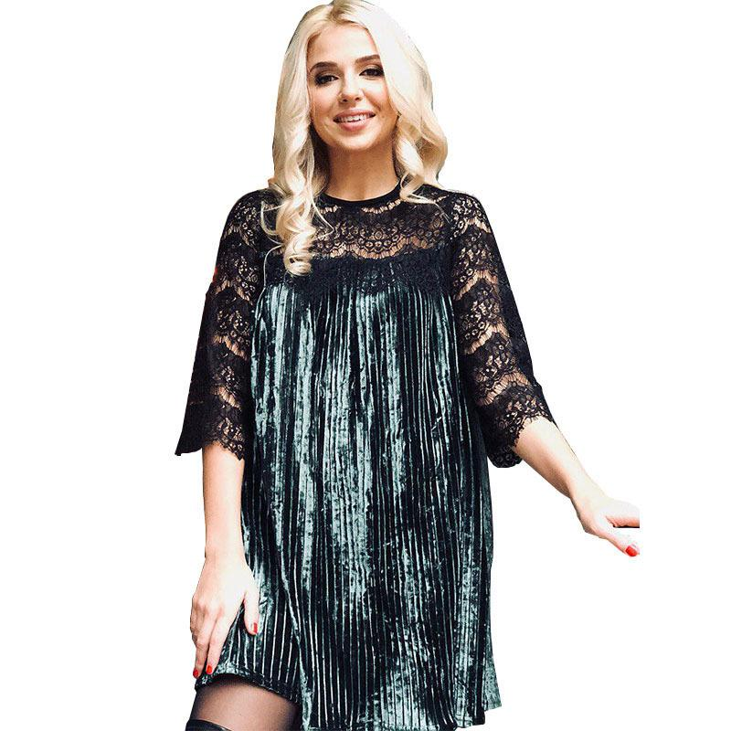 Sexy Lace Patchwork Velvet Dress 2019 Spring Autumn Three Quarter Casual  Women Clothing New Year Fashion Women Dress Canada 2019 From Caicaijin08 395b0e954