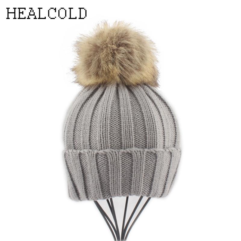 6d5c715ca87 2018 Kids Baby Winter Beanie Hat Girls Boys Faux Fur Pompom Hats ...