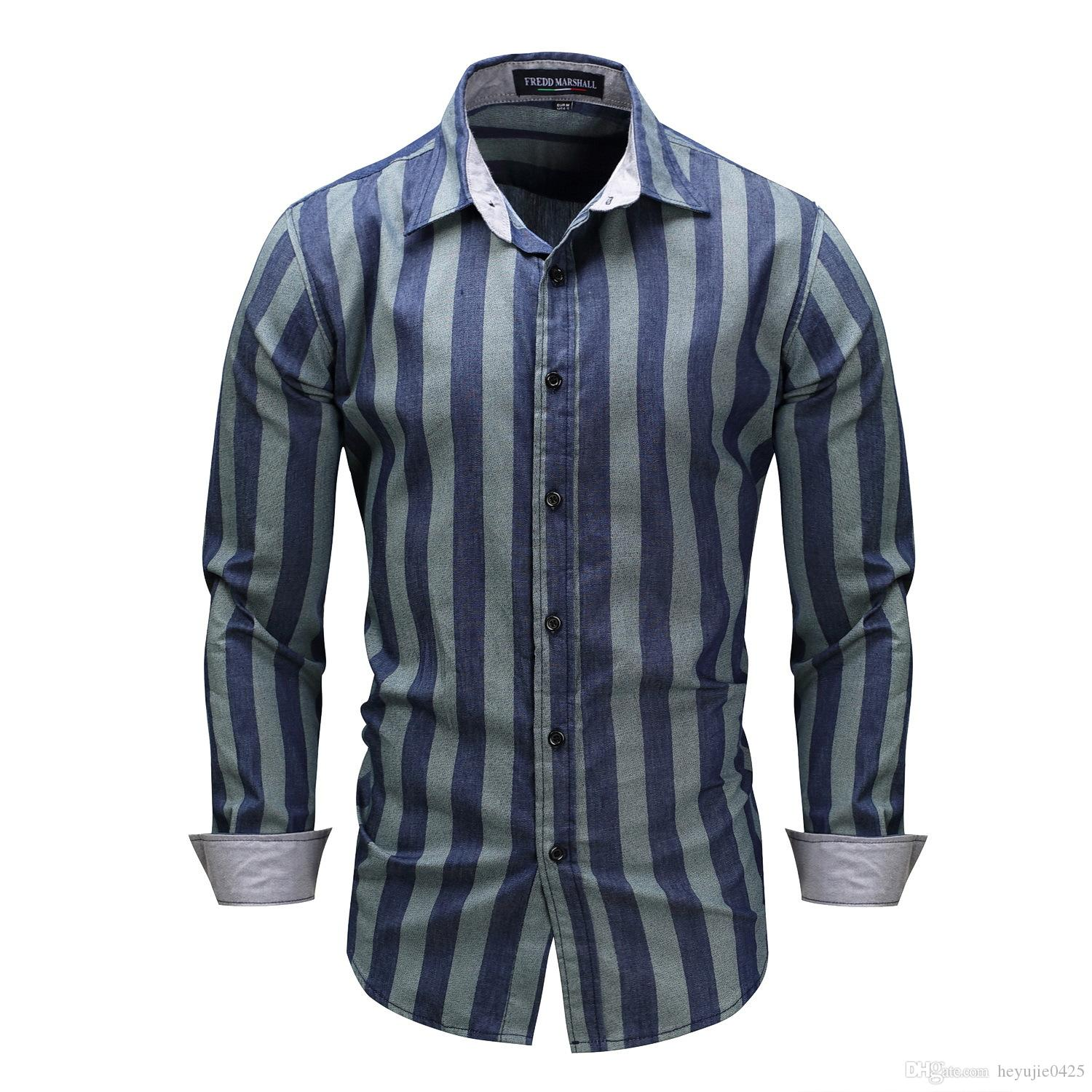 2018 Mens New Fashion Stylish Casual Designer Dress Shirt Fit Muscle