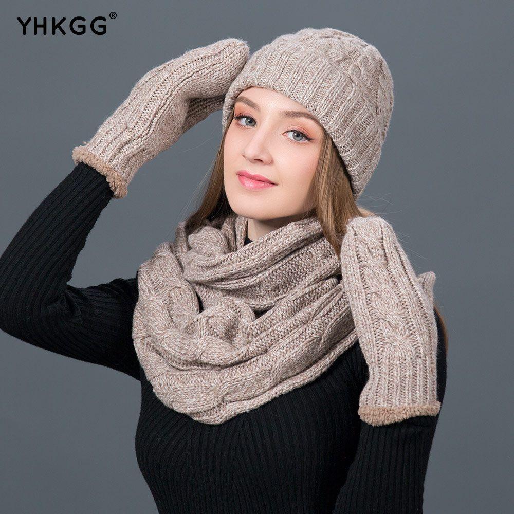 3cb29d8da72 YHKGG Set Winter Hats Scarf Gloves For Women Thick Cotton Winter ...