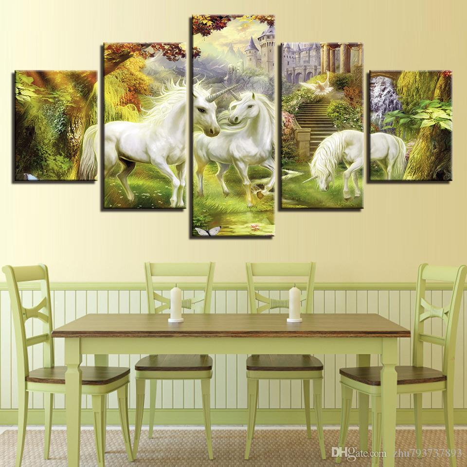 2018 Canvas Wall Art Pictures Hd Prints Fantasy Abstract Unicorn And ...