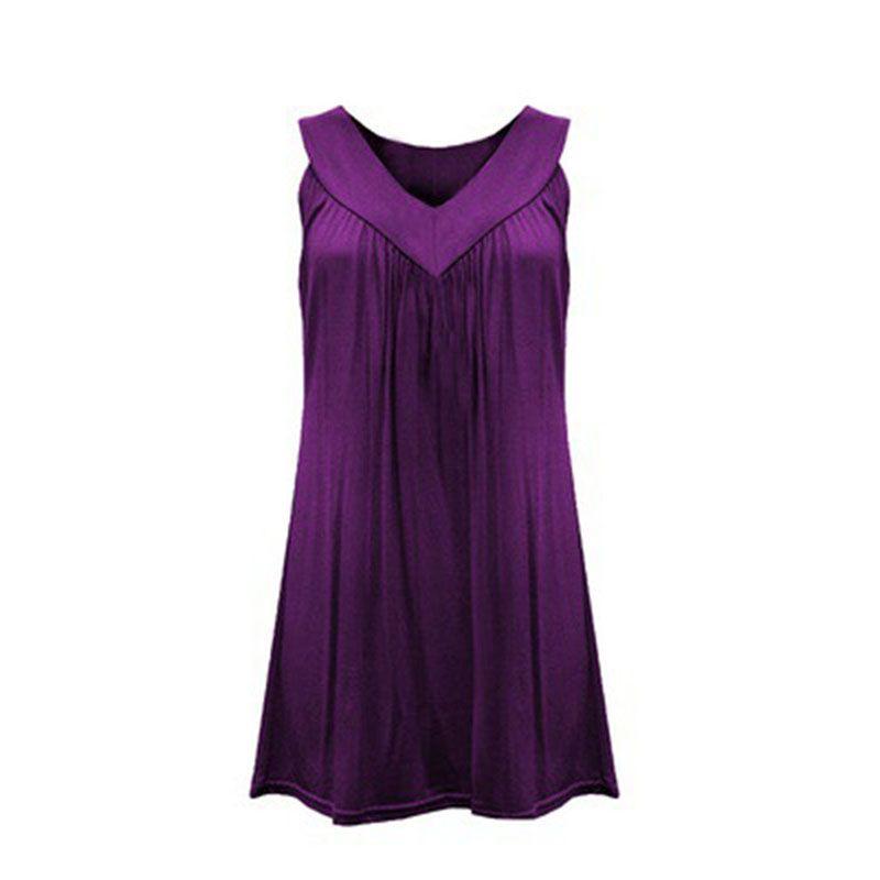 2017 Estate Moda Donna 6XL Plus Size Solid Casual Sexy scollo a V Camicia in cotone da donna senza maniche a pieghe camicette Camicia DP901724