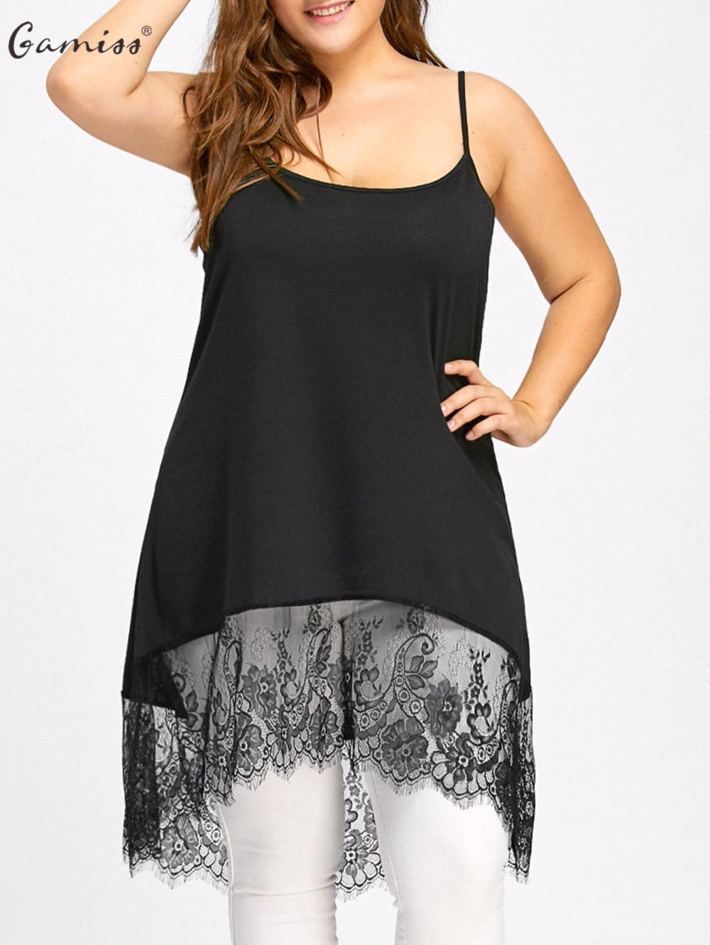0815fdba35c Gamiss Women Long Tanks Plus Size High Low Lace Panel Camis Tank Top Sexy  Sleeveless Vest Female Casual Fashion Tops Tees