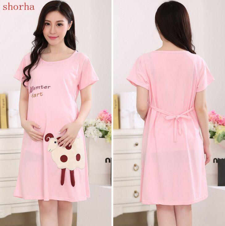 2018 Summer New Maternity Dresses Cat Pattern Pregnant Women Nursing ...