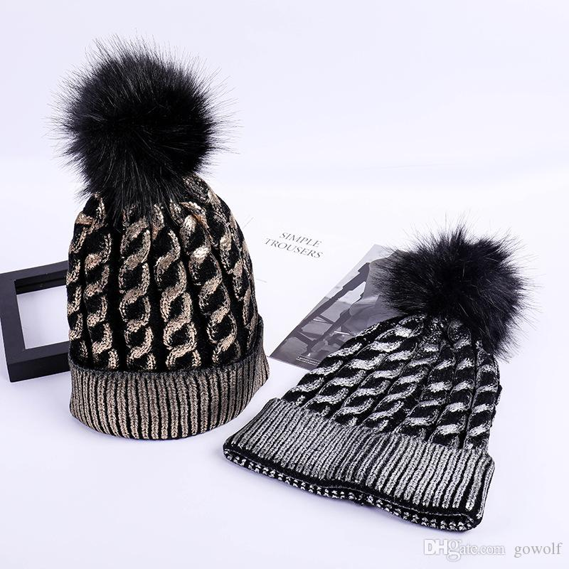 141878c85604c 2019 Wholesale Silver Gold Sequins Pom Pom Winter Hats Weaven Beanie Gorras  Luxury Cap Fitted Hat Luxury Polo Hats Skull Caps Bucket Hats From Gowolf