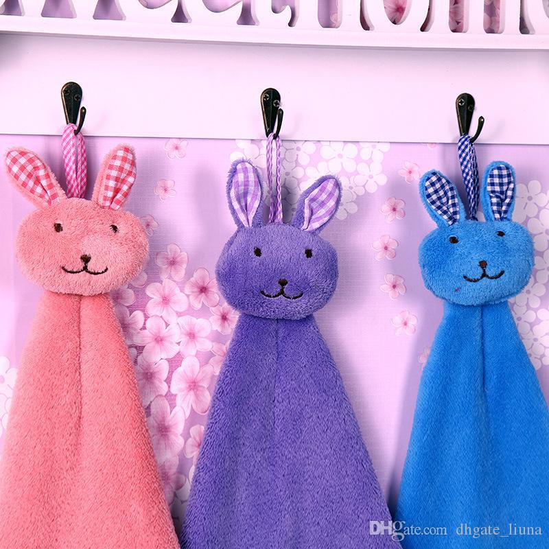 Lovely Baby Hand Towel Cartoon Animal Rabbit Plush Kitchen Soft Hanging Bath Wipe Towel Children's gifts