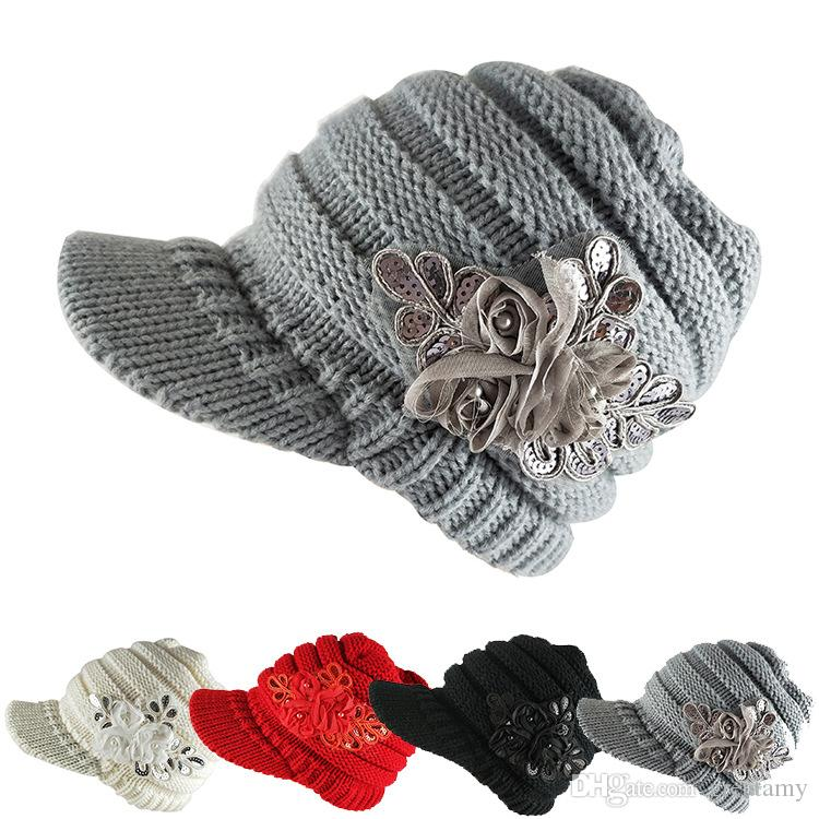 2019 Fashion Sequin Winter Warm Women S Knit Visor Hat With Flower Cap Lady  Elegant Ball Caps From Greatamy a6c3fae4e71