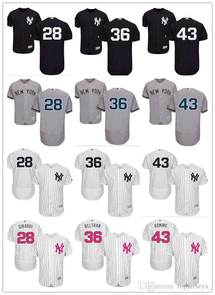 2019 2018 Custom Men Women Youth NY Yankees Jersey  28 Joe Girardi 36  Carlos Beltran 43 Austin Romine Home Black White Grey Baseball Jerseys From  Deem 90e0c0e7919