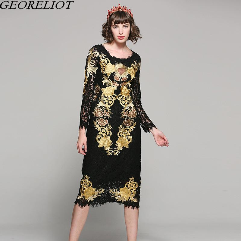 22ec7431ea8 Brand Fashion Luxury Embroidery Party Dress 2018 New Designer Women ...