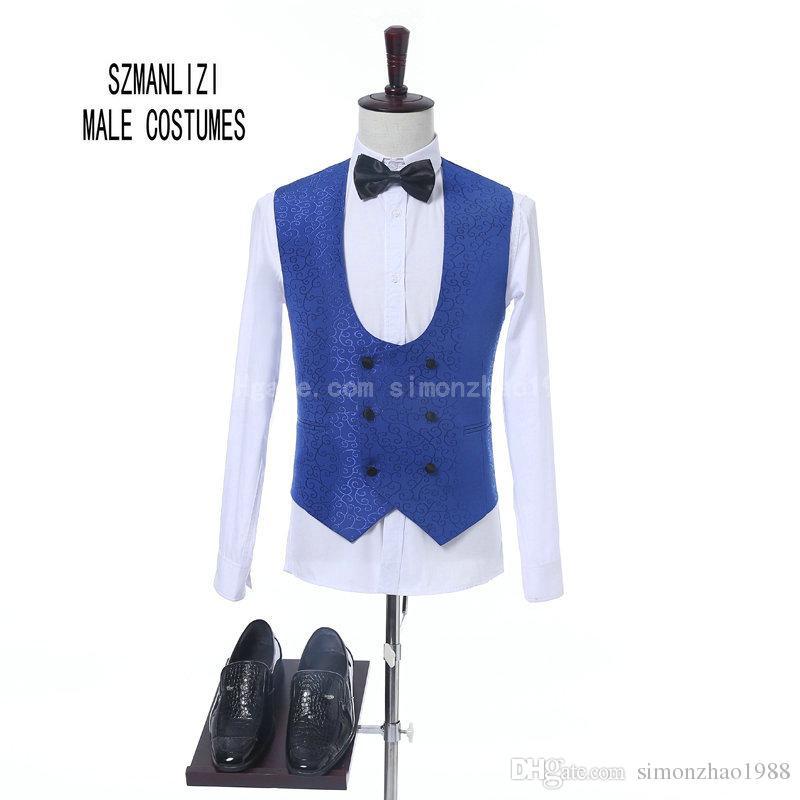 2018 Ultimi Coat Pant Design Custom Made Classic Royal Blue Fiore Uomini Abiti da sposa Best Man Blazer Sposo Suit Smoking Prom Abiti da festa