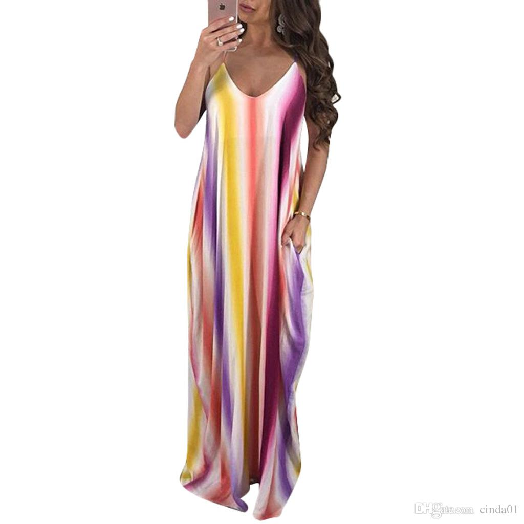 Holiday Summer Beach Maxi Dress Deep V Collar Multi Color Chiffon ...