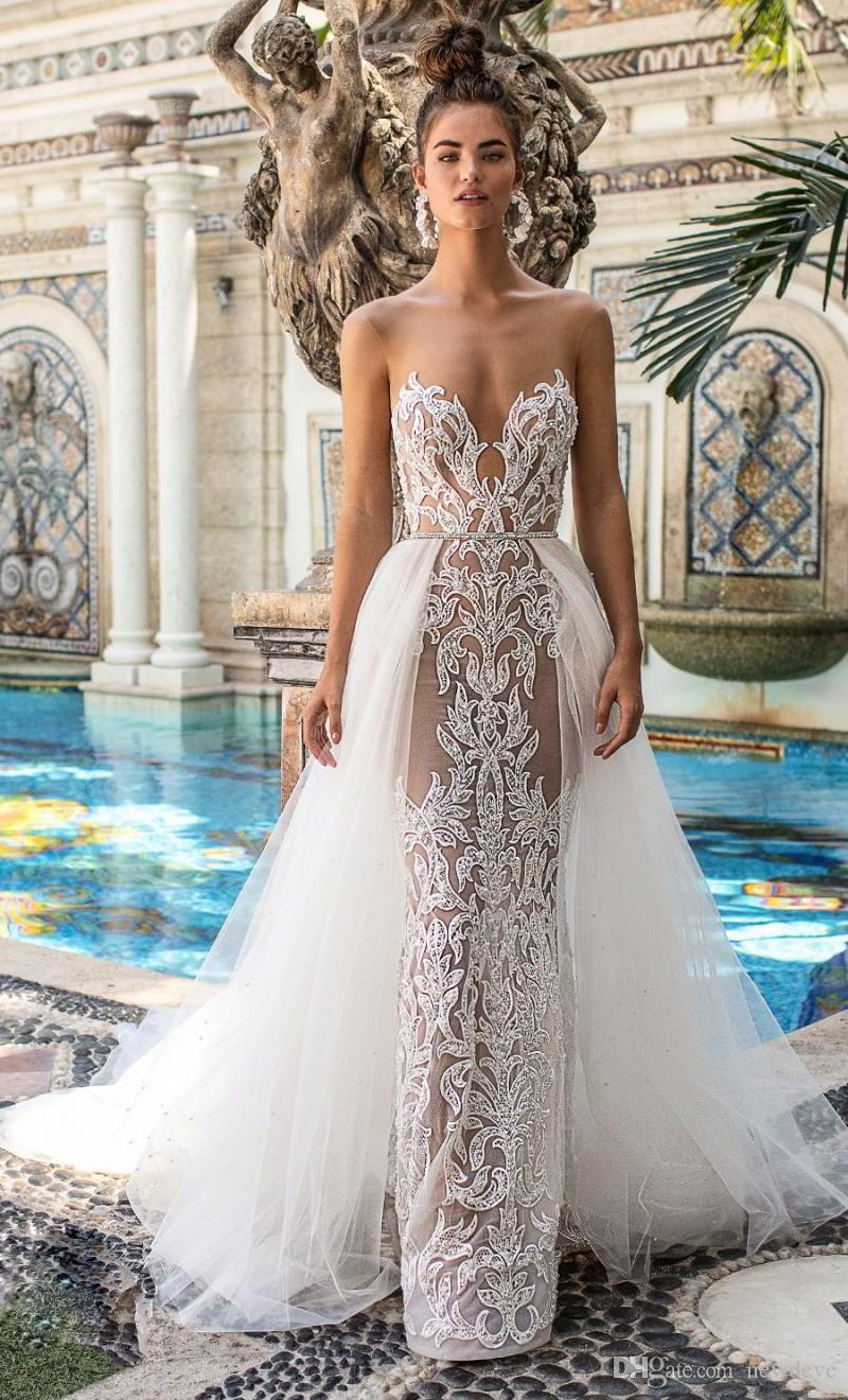 Berta 2020 Wedding Dresses Detachable Train Sweetheart Sleeveless Mermaid Bridal Gowns Custom Made Lace Appliques Wedding Dress