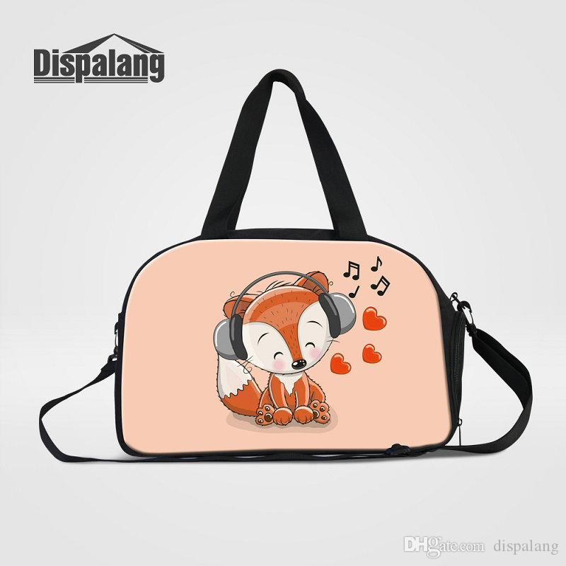 ce7d27bf86 Cute Fox Animal Prints Travel Duffle Bags For Girls Women S Portabel  Weekend Bag With Shoes Pocket Cartoon Luggage Bag Child Overnight Bags  Rolling Backpack ...