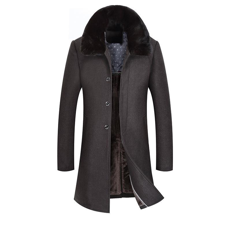 04c88c84d19 2019 2018 Winter Men S Slim Leisure Wool Trench Coat
