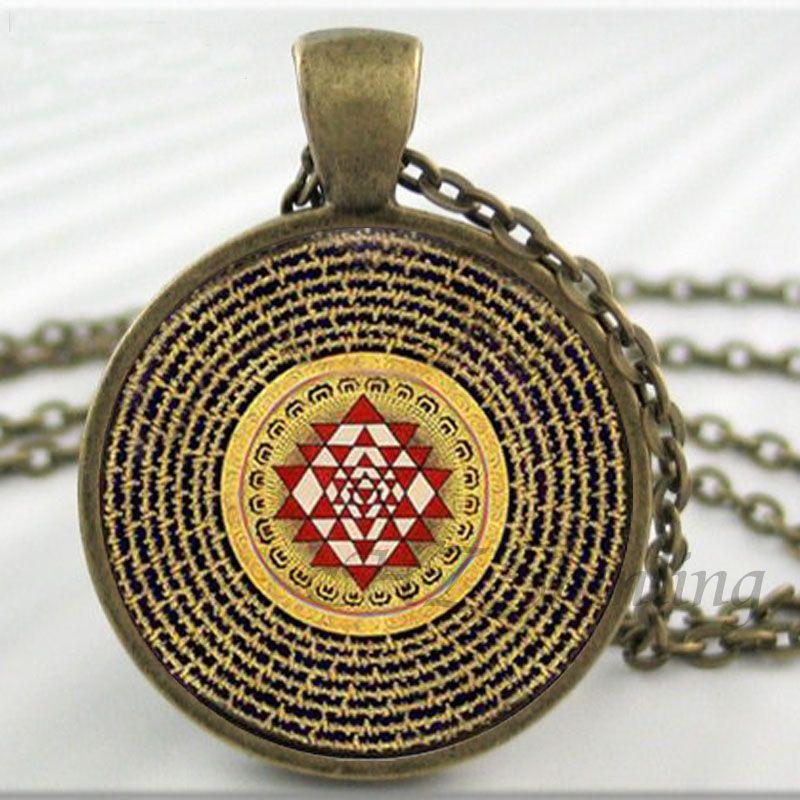 NS-00806 chakra Spiritual Buddhist Sri Yantra Pendant Necklace Sacred  Geometry Sri Yantra Jewelry meditation Necklace