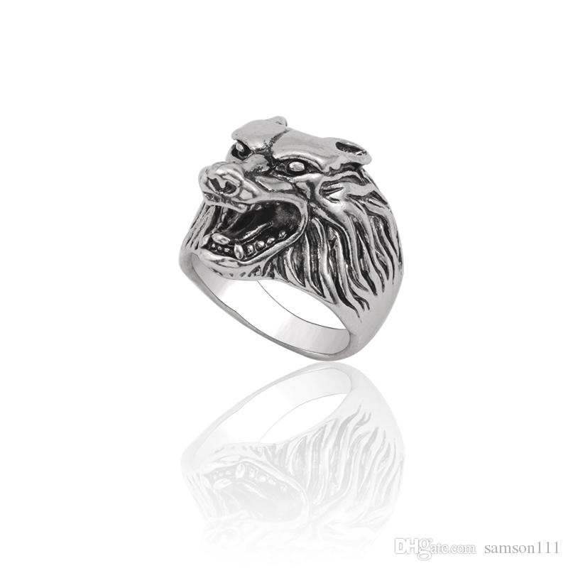 026c8a3da47a Punk Animal Ring Men Gothic Vintage Silver Wolf Head Stainless Titanium  Steel Rings Cool Man Biker Finger Ring Jewelry Anillos