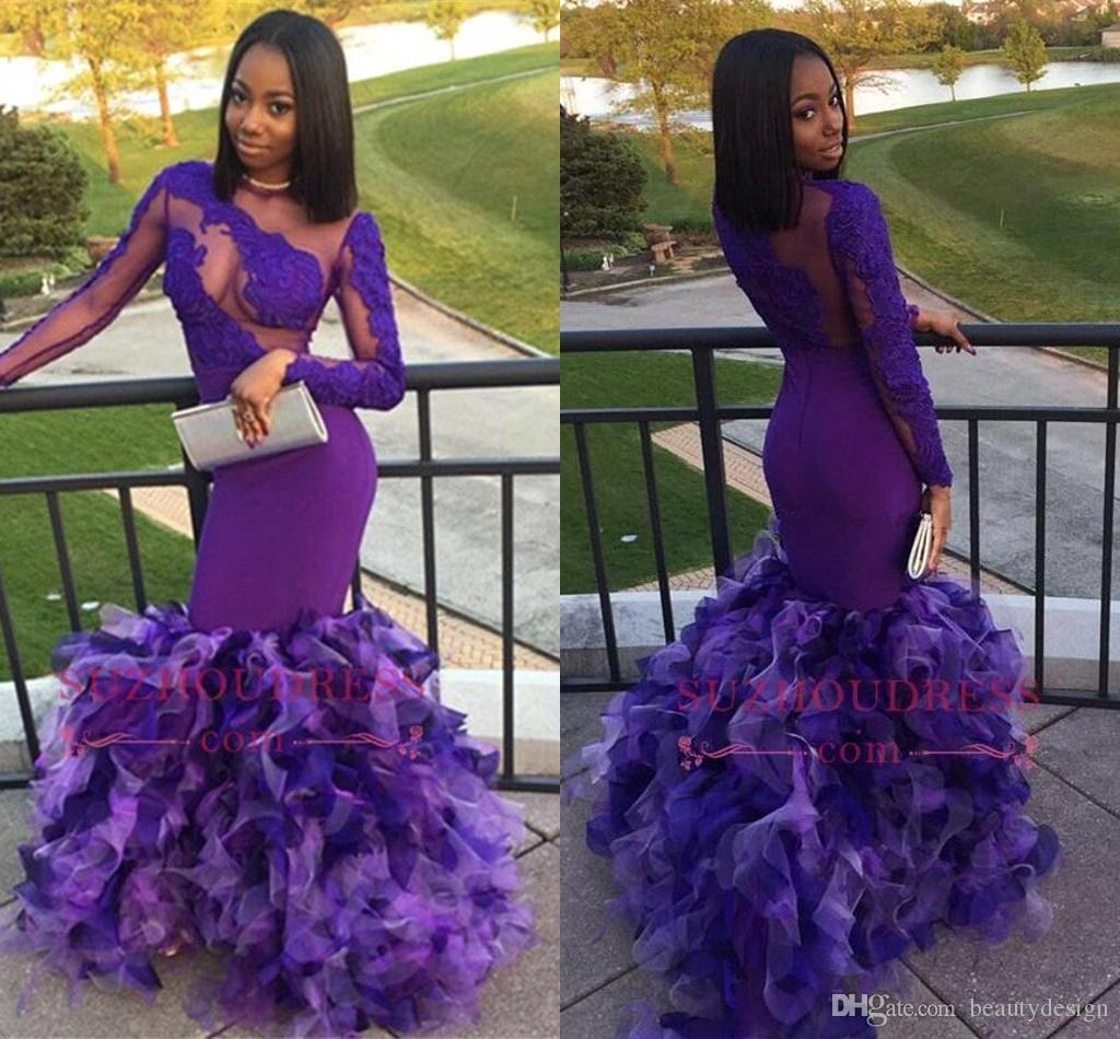 Sexy African Purple Mermaid Prom Dresses 2018 Sheer Long Sleeves