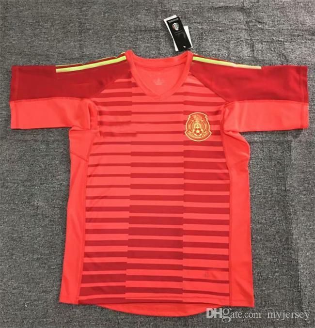 924d1d399b050 MÉXICO Camisetas De Portero 2018 OCHOA Jersey Corona G.DOS SANTOS MARQUEZ  México Local Visitante GOALKEEPER LOZANO O.PERALTA Camiseta De Fútbol LAYUN  Por ...