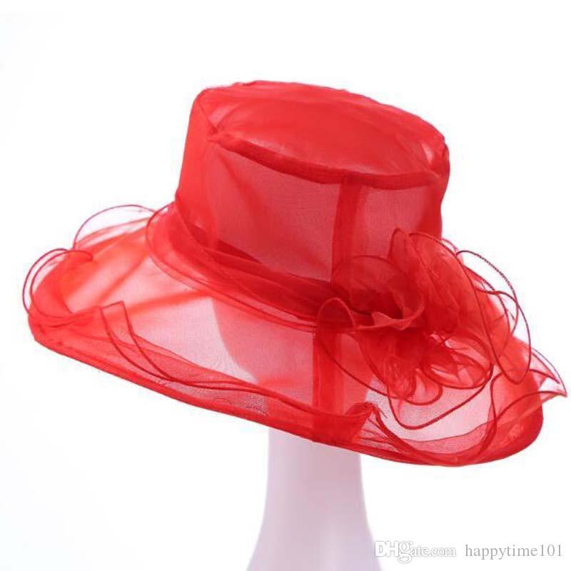 여성 교회 태양 모자 와이드 브림 캡 웨딩 드레스 티 파티 꽃 비치 모자 여름 안티 태양 모자