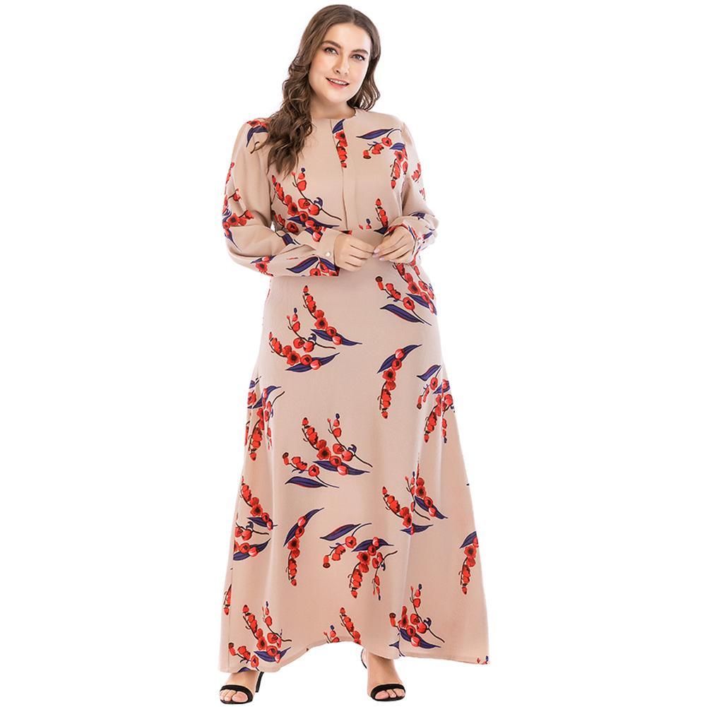 Women Plus Size Dresses 5XL 6XL 7XL Flower Print O Neck Long Sleeve Casual  Dress Loose Empire Soft Beach Maxi Long Dress Khaki Green Dress Pink Dress  From ... 05e41a08d14f