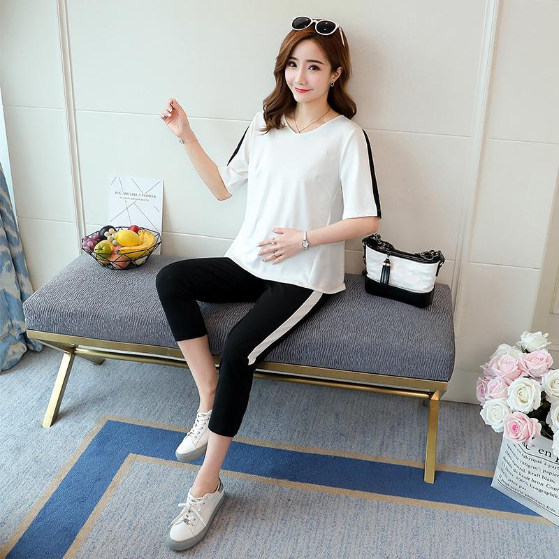 c9710100e10 666  Summer Korean Fashion Maternity Clothing Sets T-shirts + Belly Capris  Clothes for Pregnant Women Pregnancy Casual Outwear