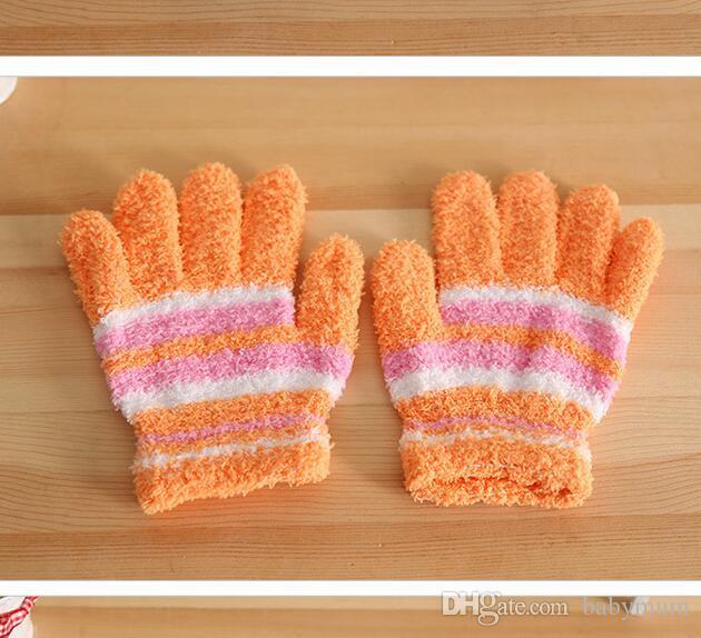 polaire corail chaud enfants hiver chaud doigts doigt bébé cinq doigts gants chauds mitaines colorées mitaines à rayures pour 2-5 ans enfants